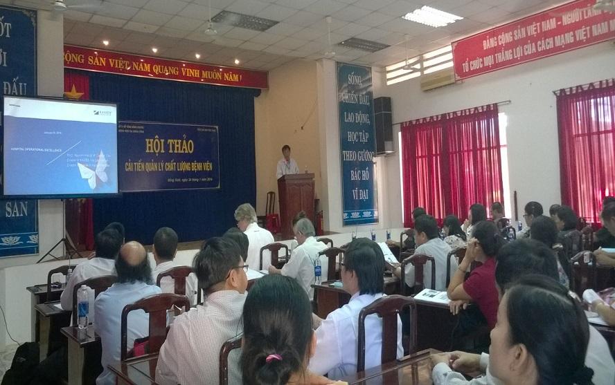 Hội thảo cải tiến quản lý chất lượng bệnh viện tại tỉnh Bình Phước, tháng 01 năm 2016 - Giám đốc bệnh viện phát biểu khai mạc hội thảo